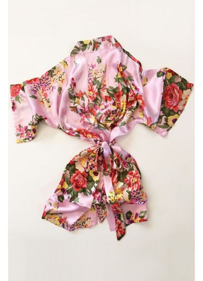 Pink Floral Flower Girl Satin Robe - Wedding Gifts & Decorations