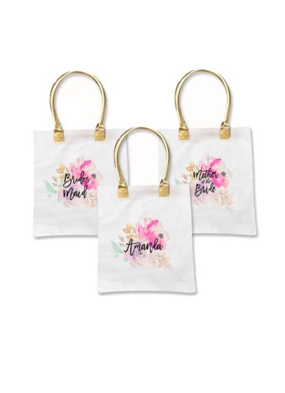 Personalized Bridal Party Floral Canvas Tote Bag - Wedding Gifts & Decorations