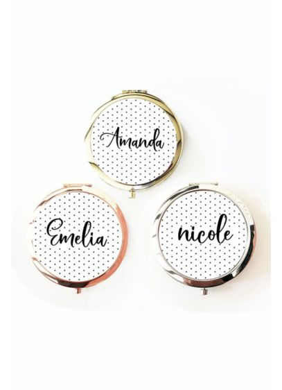 Personalized Polka Dot Compact Mirror - Wedding Gifts & Decorations