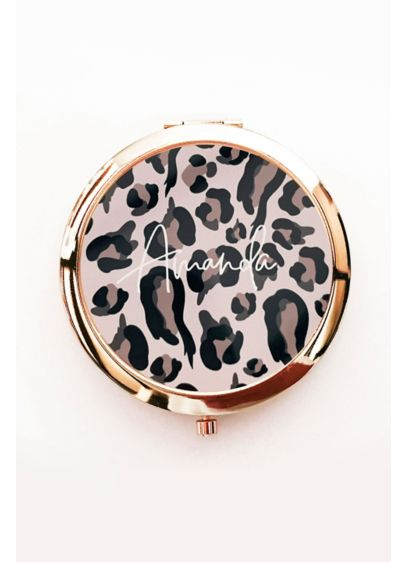 Personalized Leopard Print Compact Mirror - Metal, Epoxy 2.25