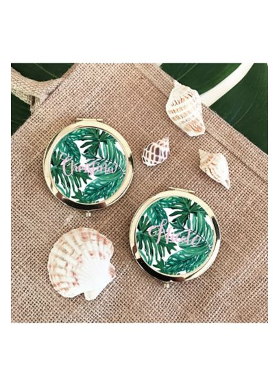 Personalized Palm Leaf Compacts - Personalized palm leaf compacts make a fun and