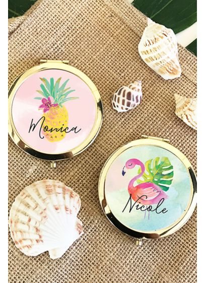 Personalized Tropical Beach Compact Mirrors - Wedding Gifts & Decorations