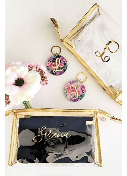 Personalized Gold Cosmetic Bag - Wedding Gifts & Decorations
