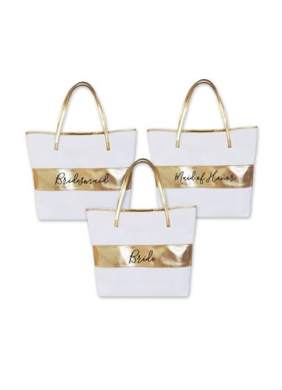 Bridal Party Gold Striped Tote Bag - Wedding Gifts & Decorations