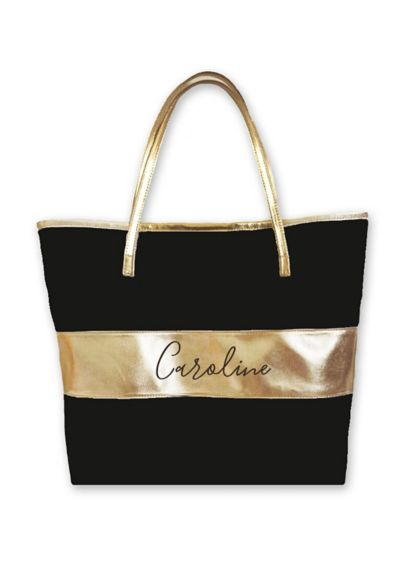 Personalized Metallic Stripe Tote - Wedding Gifts & Decorations