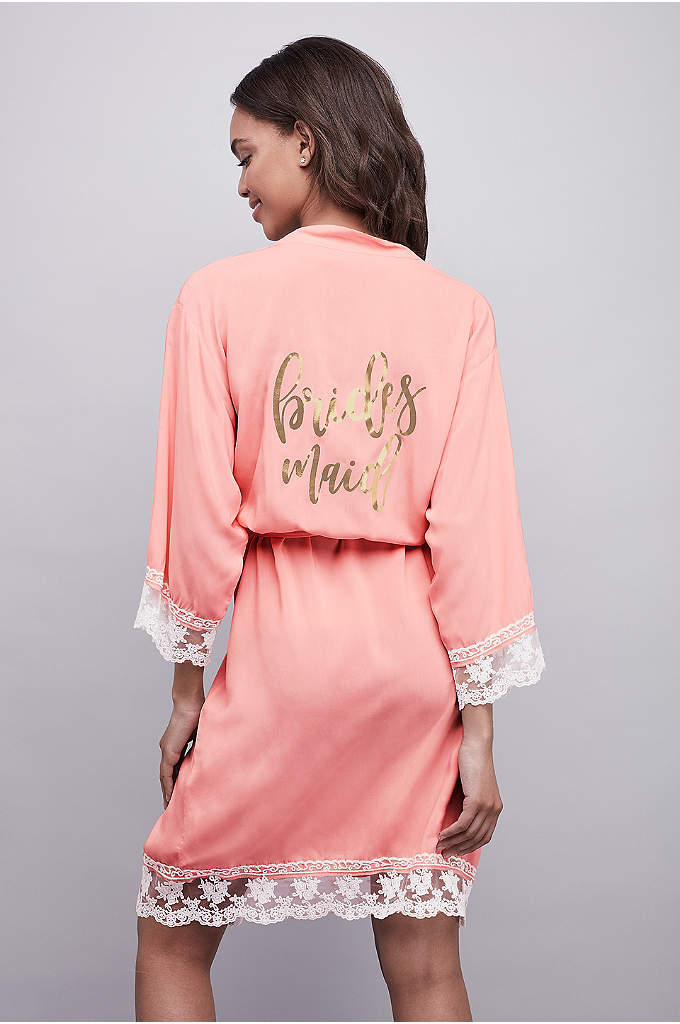Lace-Trimmed Bridesmaid Robe with Gold Foil Print - This woven rayon bridesmaid robe is finished in