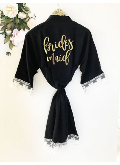 Bridesmaid Cotton Robe With Lace Trim - Wedding Gifts & Decorations