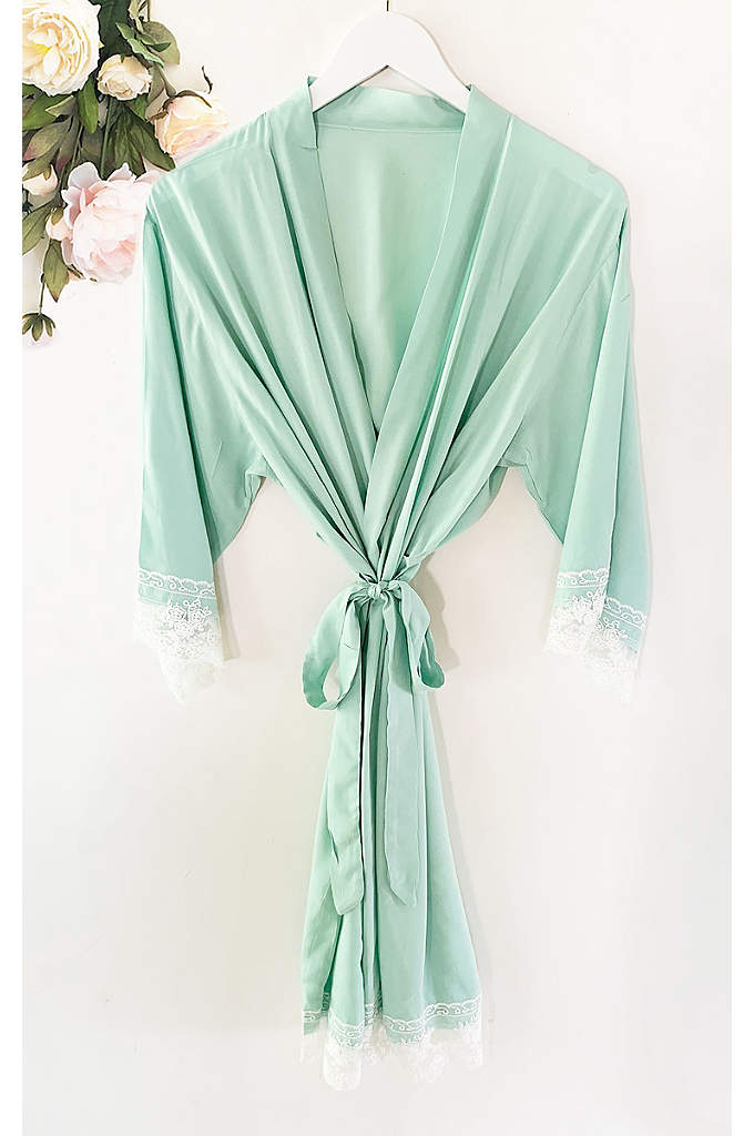 Bride Cotton Robe With Lace Trim - The Bride Cotton Lace Robe is the perfect