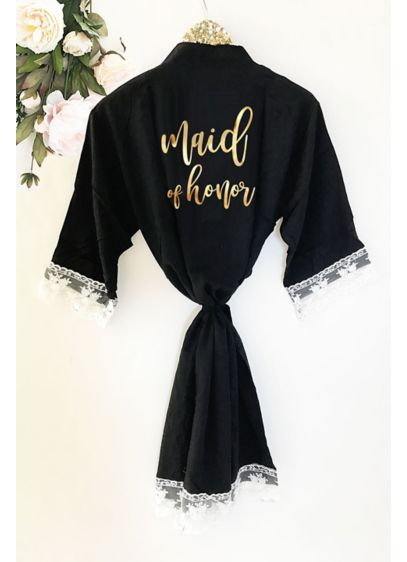 Maid of Honor Cotton Robe With Lace Trim - Wedding Gifts & Decorations