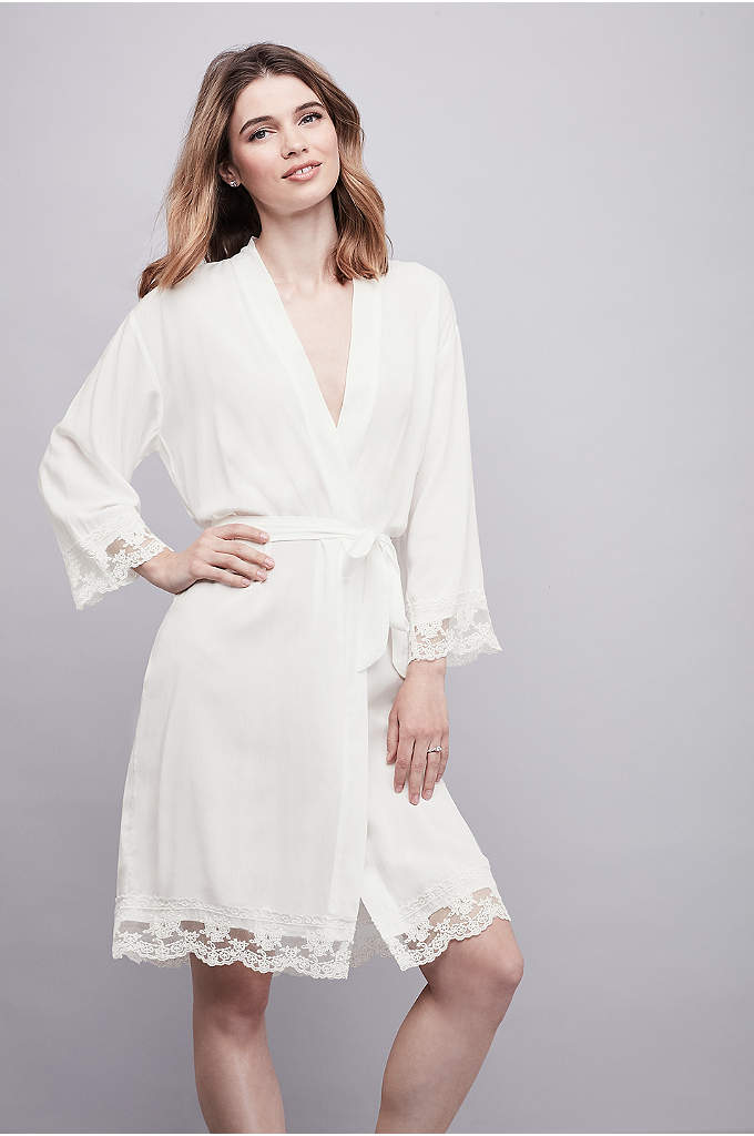 Lace-Trimmed Bride Robe with Gold Foil Print - This woven rayon bride robe is finished in