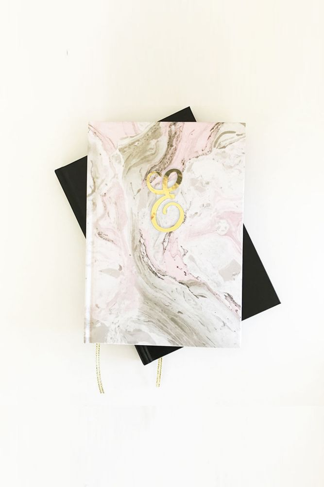 Personalized Pink Marble Monogram Journal Style EB3191