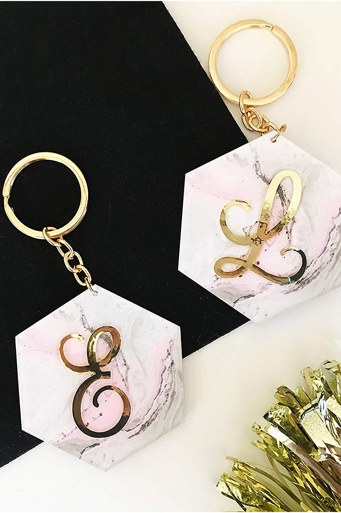 Personalized Pink Marble Monogram Keychain - Your bridal party and friends will remember and