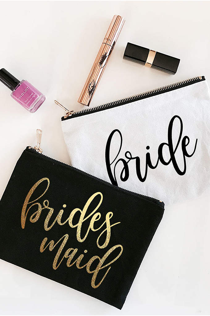 Personalized Bridal Party Canvas Cosmetic Bag - The Personalized Bridal Party Cosmetic Bags add a