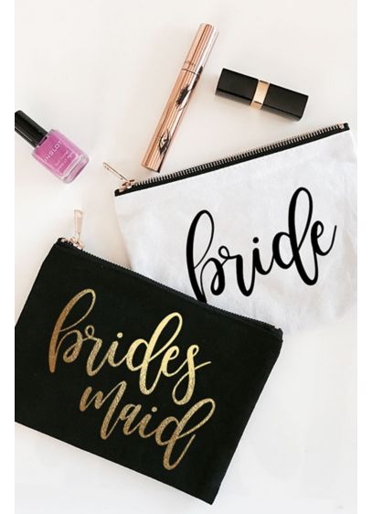 Black (Personalized Bridal Party Canvas Cosmetic Bag)