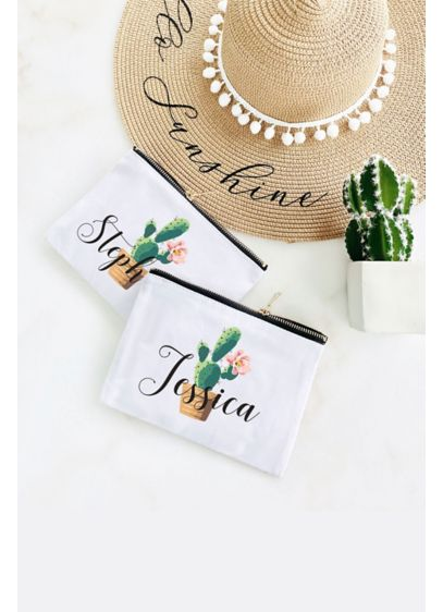 Personalized Cactus Canvas Cosmetic Bag - Thank your bridal party with personalized cosmetic bags