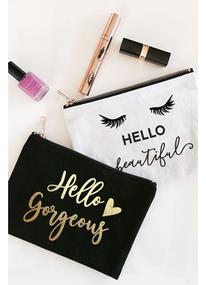 Hello Theme Canvas Cosmetic Bag - Wedding Gifts & Decorations