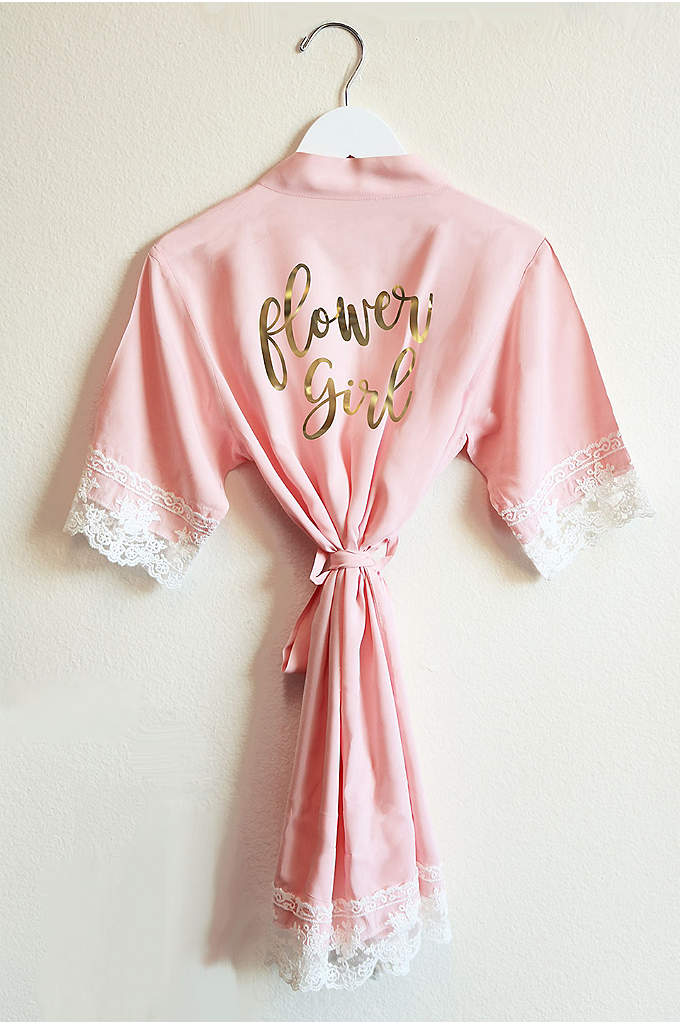 Blush Flower Girl Cotton Lace Robe - Your flower girls will feel just as pretty
