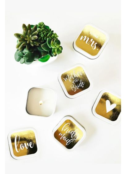 Bridal Party Square Candle Tins Set of 12 - White square candle tins make a pretty and