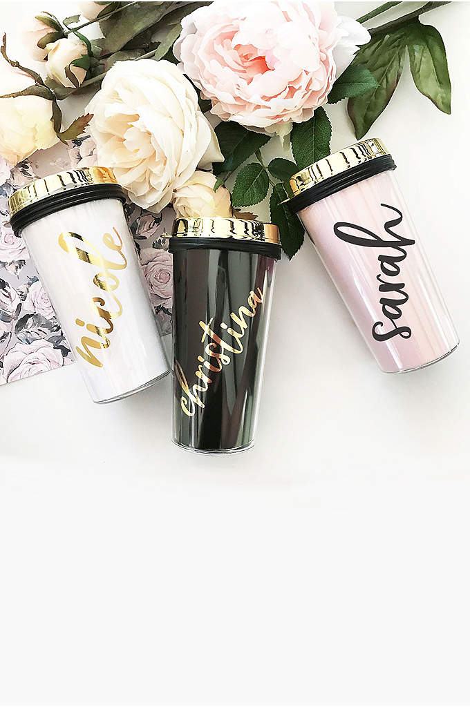Personalized Travel Tumbler with Gold Lid - Personalized tumblers are a perfect gift for any