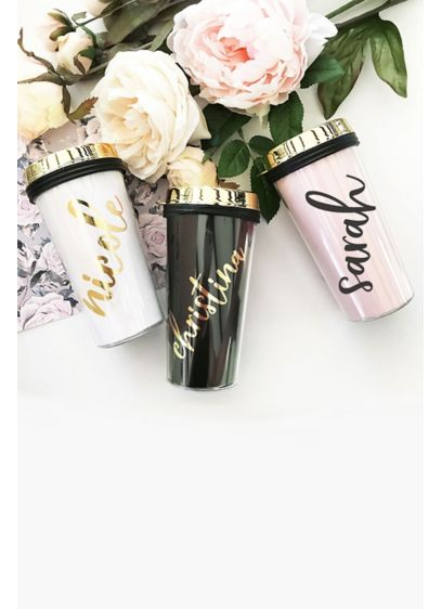 Personalized Travel Tumbler with Gold Lid - Wedding Gifts & Decorations