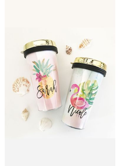 (Personalized Tropical Travel Coffee Tumbler)