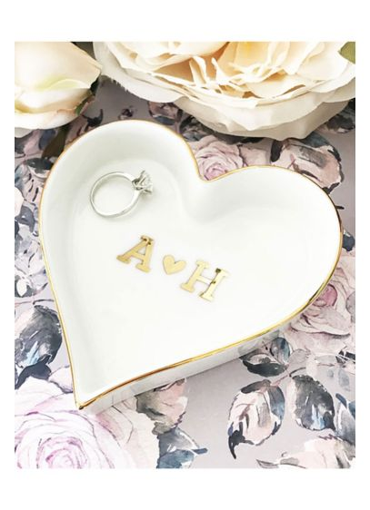 Pers Heart Monogram Heart Shaped Ring Dish - Couple monogram heart shaped ring dishes make stylish