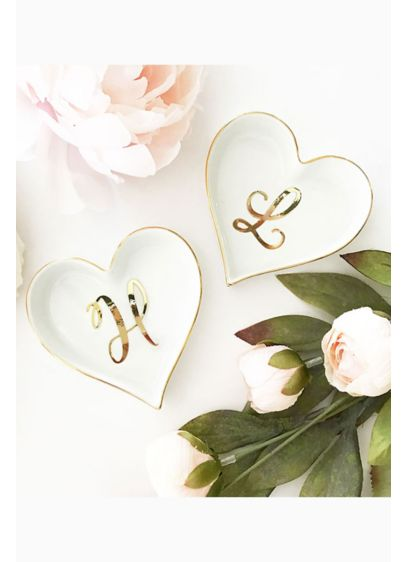 Personalized Monogram Heart Shaped Ring Dish - Heart shaped ring dishes with a pretty script