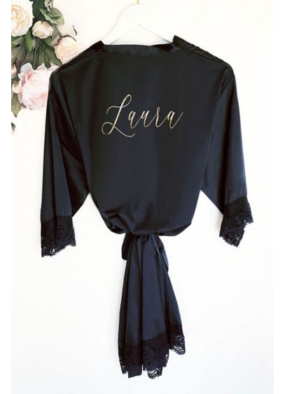 Personalized Satin and Lace Robe - Wedding Gifts & Decorations