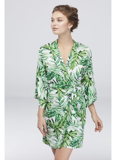 Personalized Monogram Tropical Palm Leaf Robe - Personalize this palm leaf robe with a gold