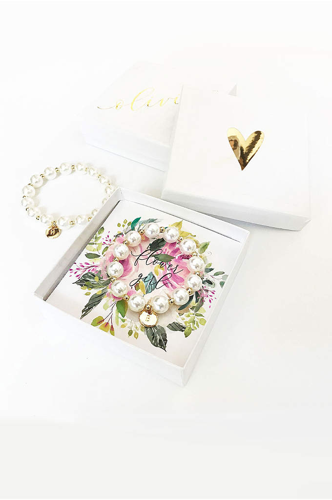 Pers Flower Girl Pearl Bracelet with Gift Box - Monogram pearl bracelets make the perfect gift for
