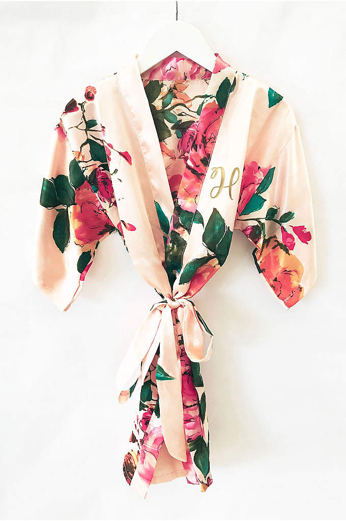 Flower Girl Monogram Watercolor Floral Robe - The Flower Girl Monogram Watercolor Floral Robes make