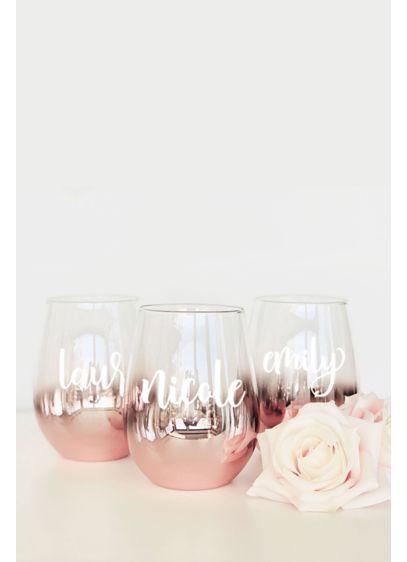 Pink (Personalized Rose Gold Stemless Glass)