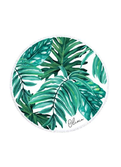 Personalized Palm Leaf Round Beach Towel - Wedding Gifts & Decorations