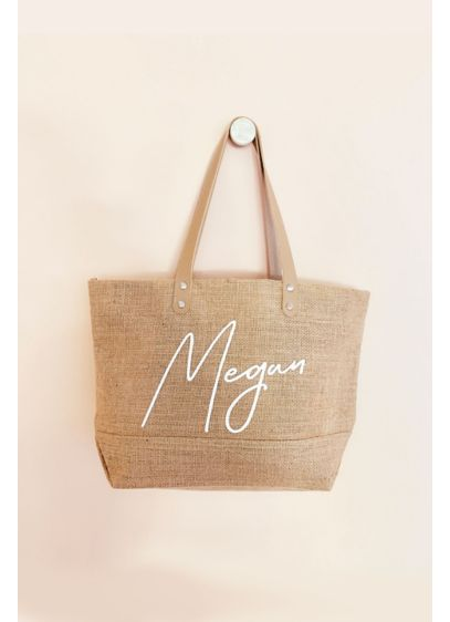 Personalized Jute Canvas Tote Bag with Zipper - Wedding Gifts & Decorations