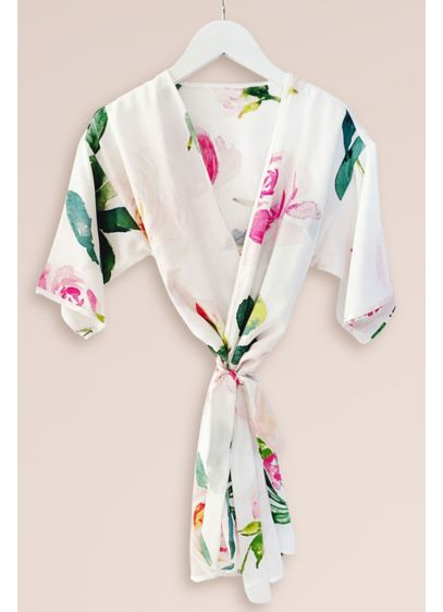 Girls Spring Rose Satin Robe - Wedding Gifts & Decorations