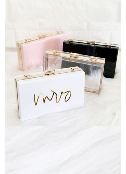 Mrs Script Acrylic Clutch with Removable Chain - Wedding Gifts & Decorations