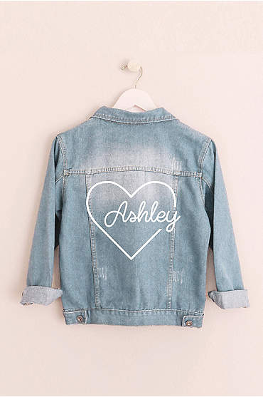 Heart Script Personalized Jean Jacket