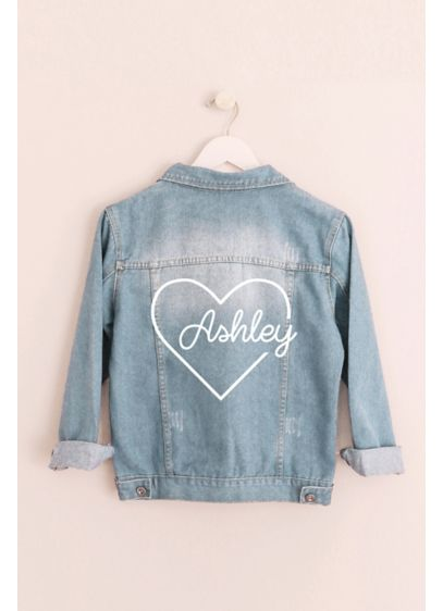Heart Script Personalized Jean Jacket - The cutest gift to give your bridesmaids (or