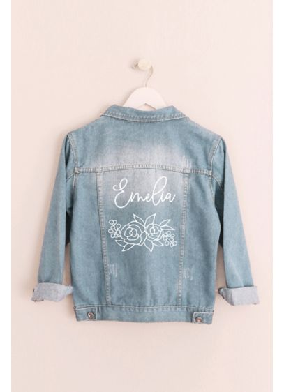 Floral and Script Personalized Jean Jacket - This lightly distressed denim jacket makes for an