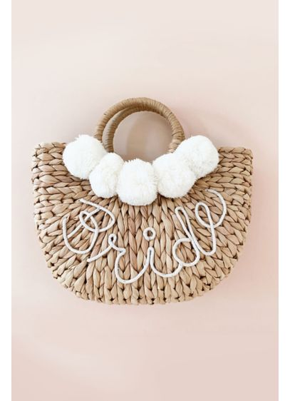 Hand-Lettered Bride Straw Handbag with Pom Poms - Accessorize your bridal shower, rehearsal dinner, or honeymoon