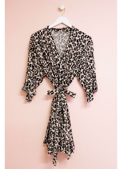 Leopard Print Robe with Ruffle Trim - A cute and wild gift for your bridal