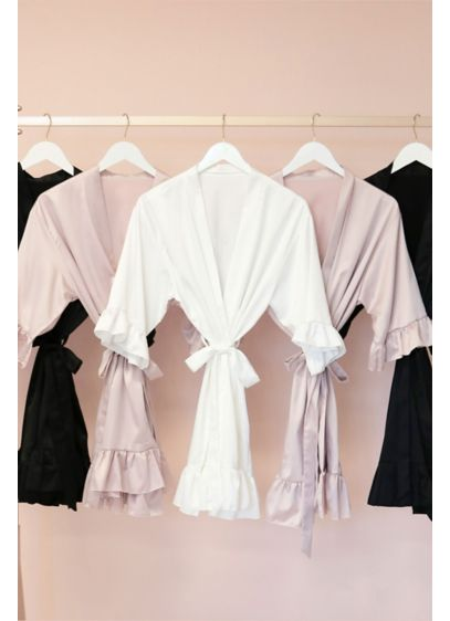 Satin Ruffle Trim Robe - Wedding Gifts & Decorations