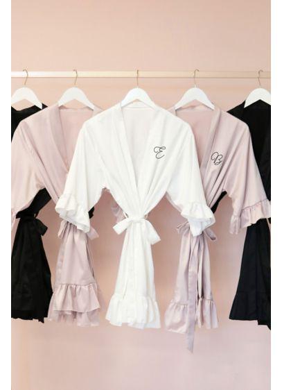 Monogram Satin Ruffle Trim Robe - Get ready in style wearing this super-soft satin