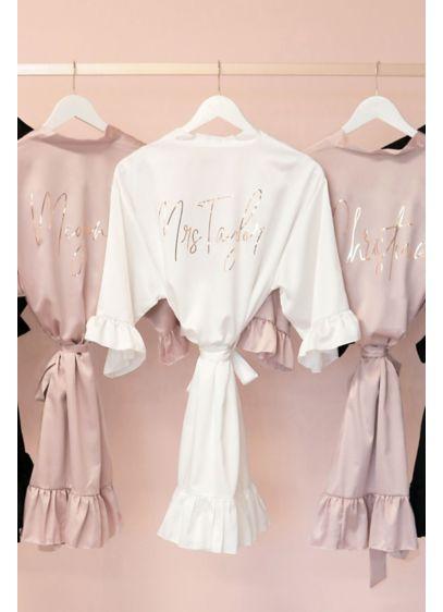 Personalized Satin Ruffle Robe - Wedding Gifts & Decorations
