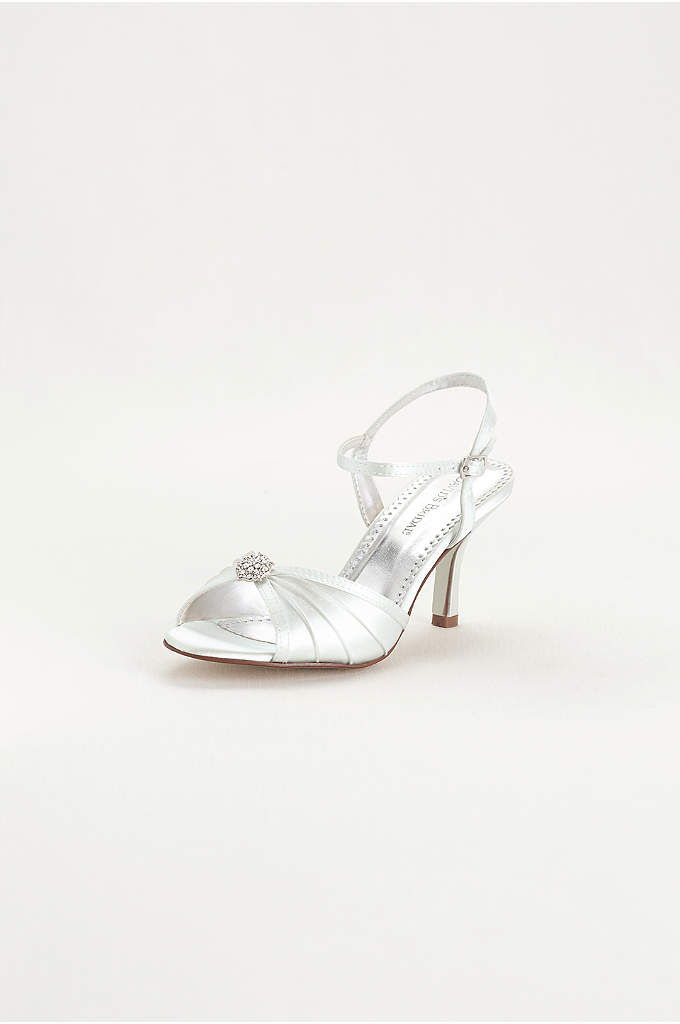 Dyeable Satin Pleated Shoe with Ornament - Dyeable shoe features pleated vamp with crystal ornament