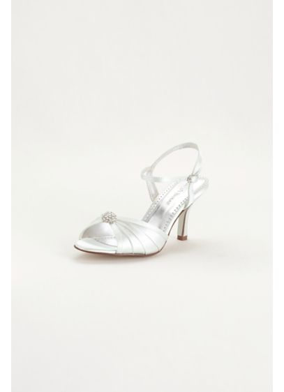 David's Bridal White (Dyeable Satin Pleated Shoe with Ornament)