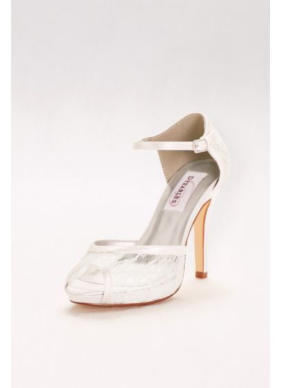 Dyeable Lace Peep-Toe Platform Heels - A modern take on dye-to-match shoes, this platform