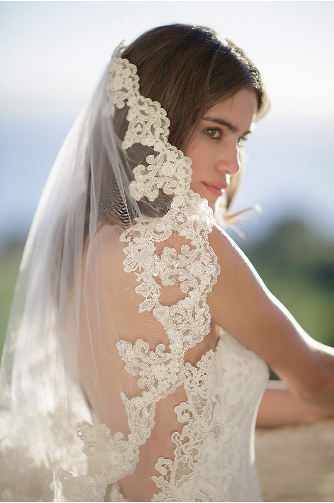 Freshwater Pearl and Alencon Lace Veil with Comb - Grand scallops of alencon lace trim the edges