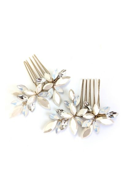 Opal and Crystal Floral Comb Set - This pair of luminous opal and crystal combs