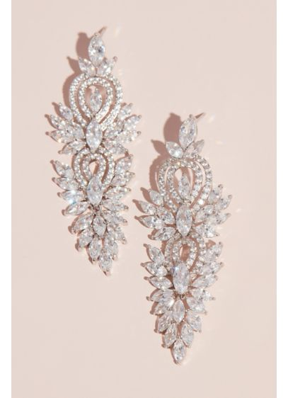 David's Bridal Grey (Marquise-Cut Crystal and Pattern Drop Earrings)